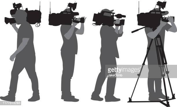 cameraman silhouettes - tv reporter stock illustrations, clip art, cartoons, & icons