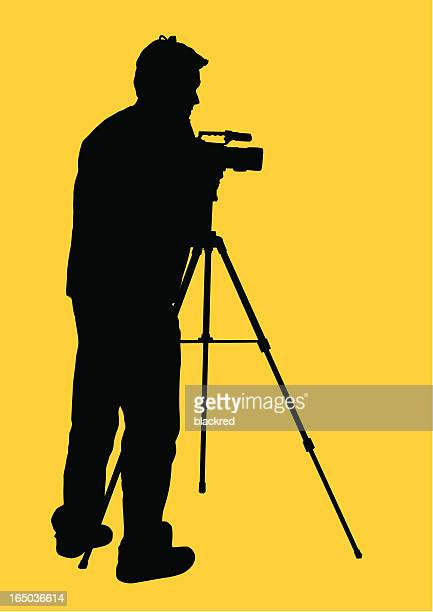 cameraman - camera tripod stock illustrations, clip art, cartoons, & icons