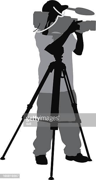cameraman - cinematographer stock illustrations, clip art, cartoons, & icons