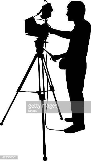 cameraman - tv reporter stock illustrations, clip art, cartoons, & icons