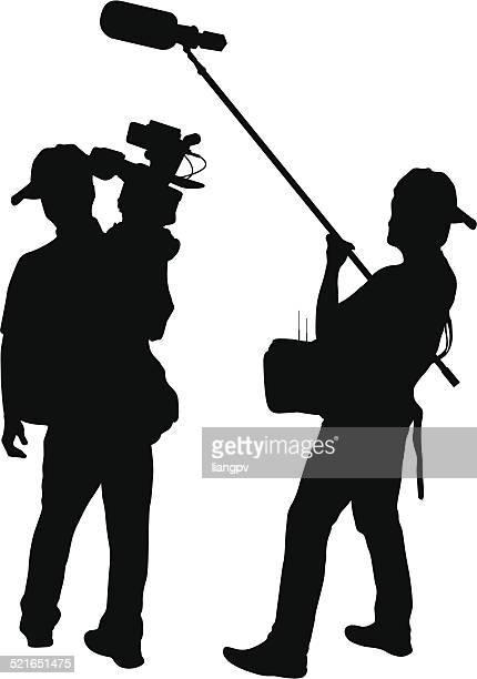 cameraman - film crew stock illustrations