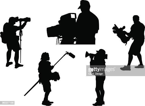 cameramen ~ vector - stage set stock illustrations