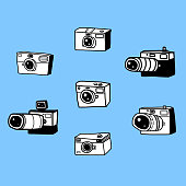 Cameras Vector sketch drawings