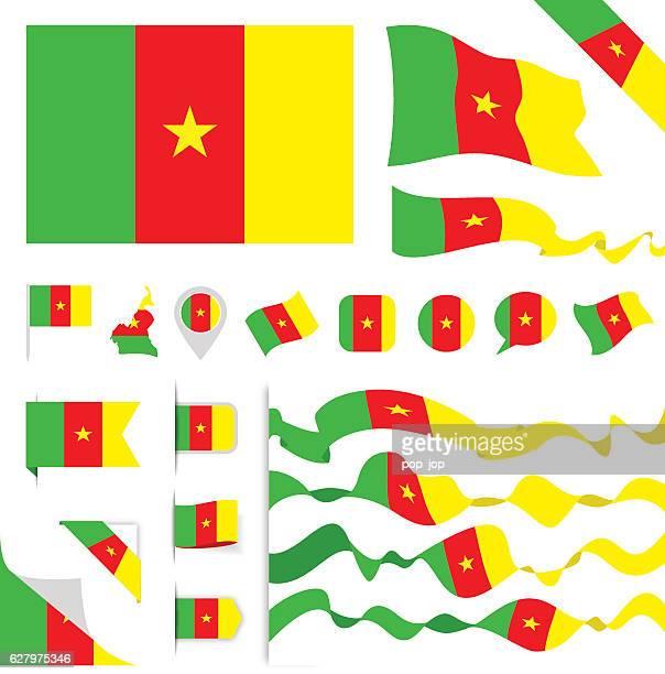 cameroon flag set - cameroon stock illustrations, clip art, cartoons, & icons