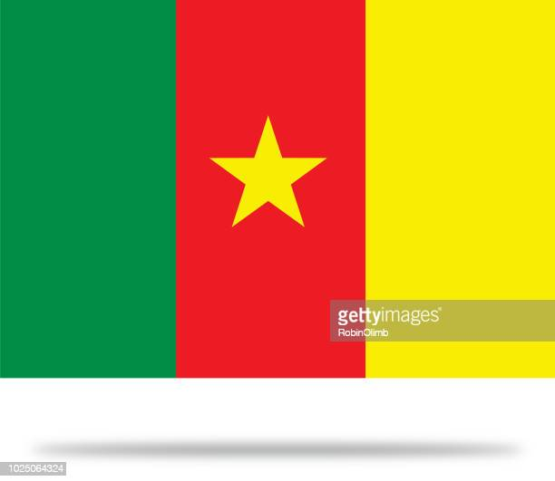cameroon flag with shadow - cameroon stock illustrations, clip art, cartoons, & icons