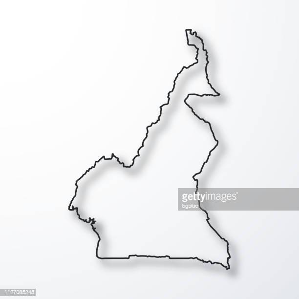 Carte du Cameroun - noir contour avec ombre sur fond blanc