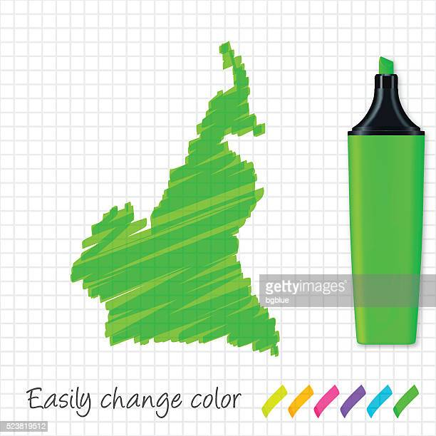cameroon map hand drawn on grid paper, green highlighter - cameroon stock illustrations, clip art, cartoons, & icons