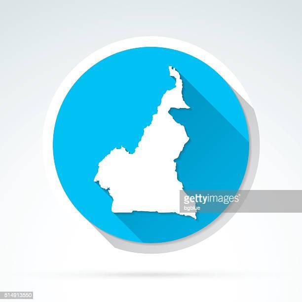 Kamerun Karte, Symbol, Flat-Design, lange Schatten