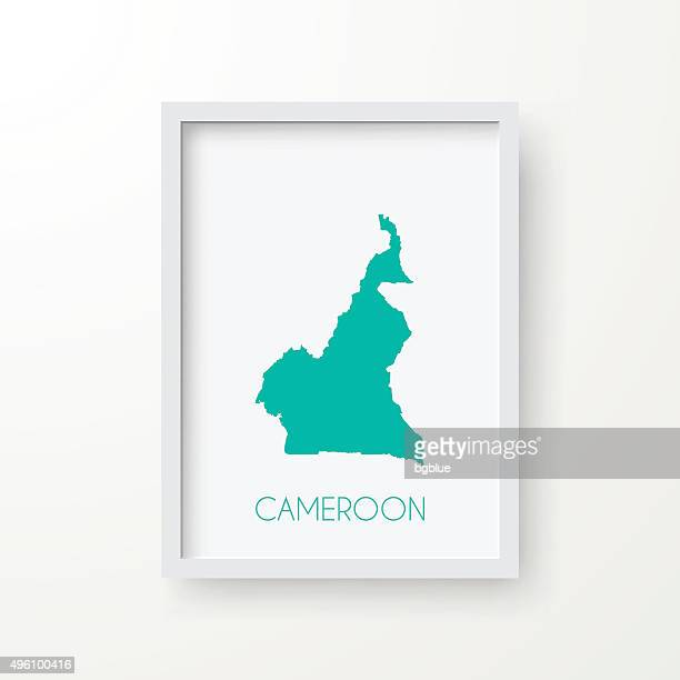 cameroon map in frame on white background - cameroon stock illustrations, clip art, cartoons, & icons
