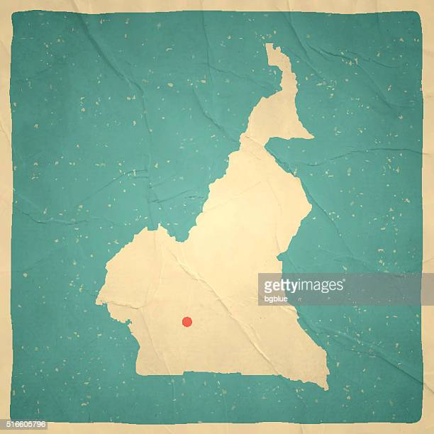 cameroon map on old paper - vintage texture - cameroon stock illustrations, clip art, cartoons, & icons