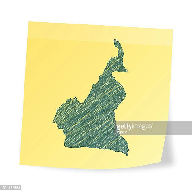 Kamerun Karte auf Klebezettel mit scribble-Effekt