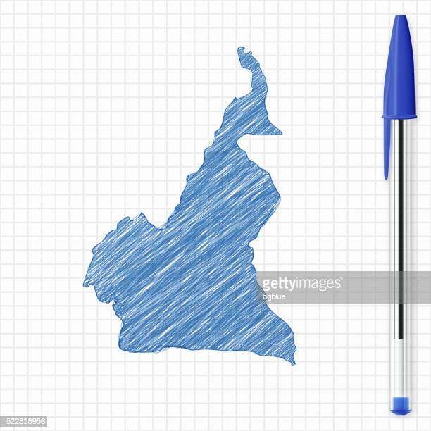 cameroon map sketch on grid paper, blue pen - cameroon stock illustrations, clip art, cartoons, & icons