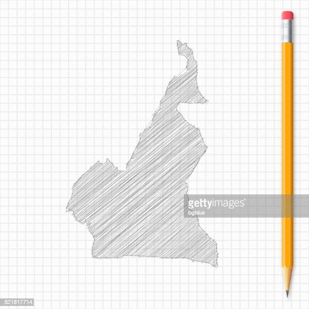 cameroon map sketch with pencil on grid paper - cameroon stock illustrations, clip art, cartoons, & icons