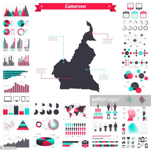 cameroon map with infographic elements - big creative graphic set - cameroon stock illustrations, clip art, cartoons, & icons