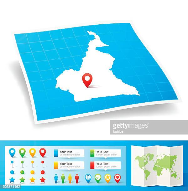 cameroon map with location pins isolated on white background - cameroon stock illustrations, clip art, cartoons, & icons