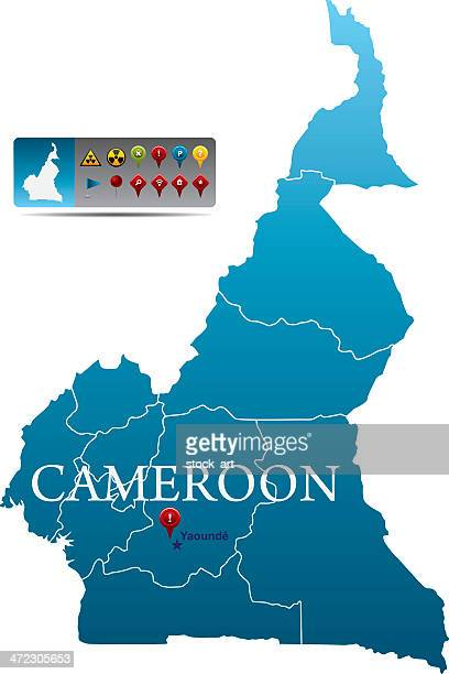 cameroon map with navigation icons - cameroon stock illustrations, clip art, cartoons, & icons