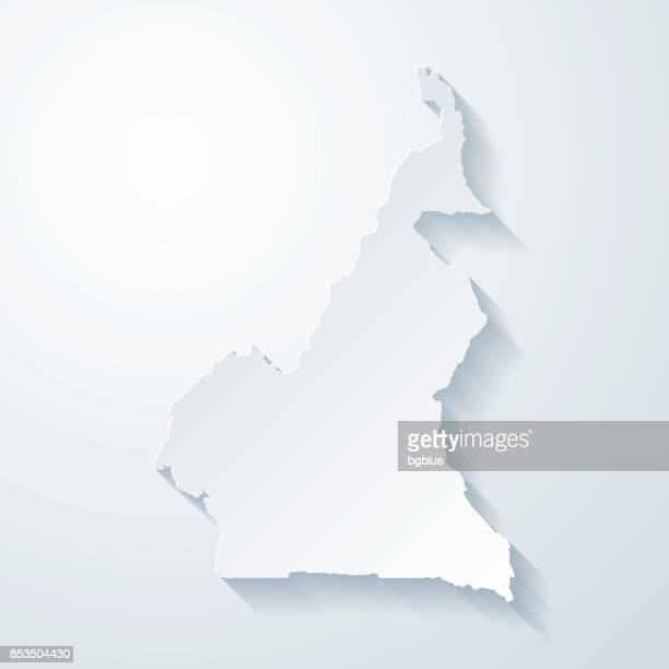 cameroon map with paper cut effect on blank background - cameroon stock illustrations, clip art, cartoons, & icons