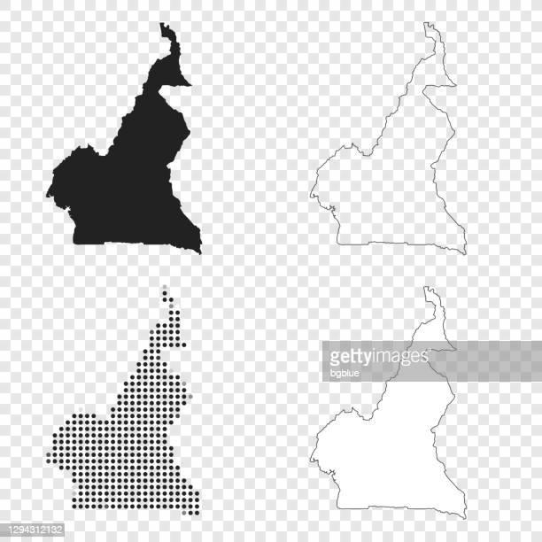 kamerun karten für design - schwarz, umriss, mosaik und weiß - kamerun stock-grafiken, -clipart, -cartoons und -symbole