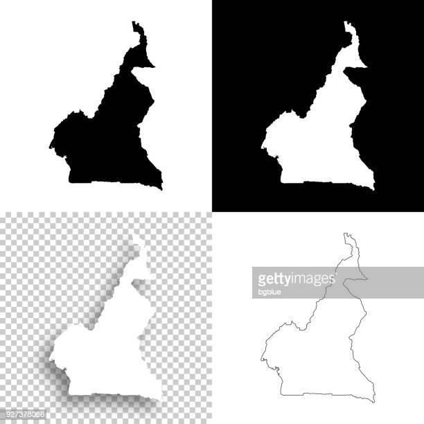 ilustrações, clipart, desenhos animados e ícones de mapas de camarões para design - branco, planos de fundo brancos e pretos - camarões