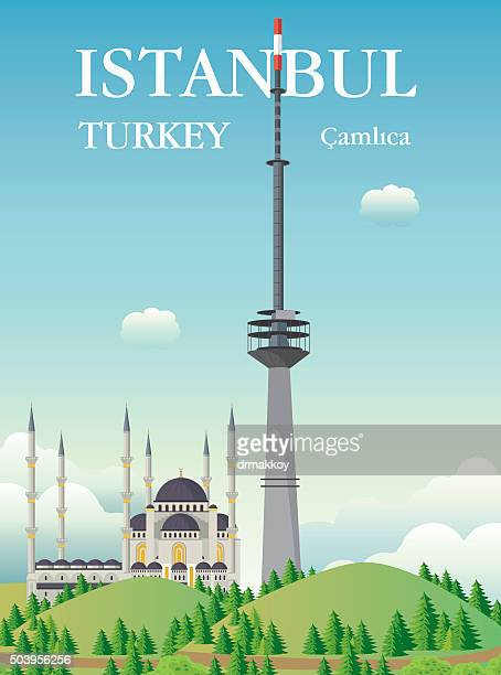 camlica tower - television aerial stock illustrations, clip art, cartoons, & icons