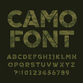 Camo alphabet font. Type letters and numbers.