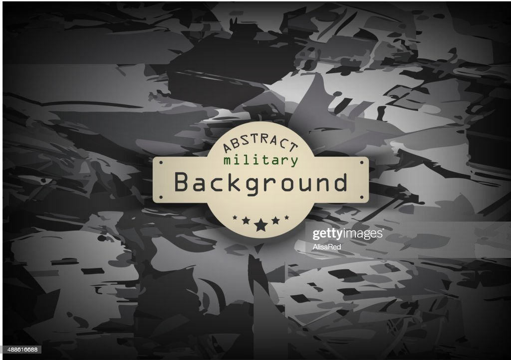 Camouflage military monochrome pattern  background. Vector illustration, EPS10