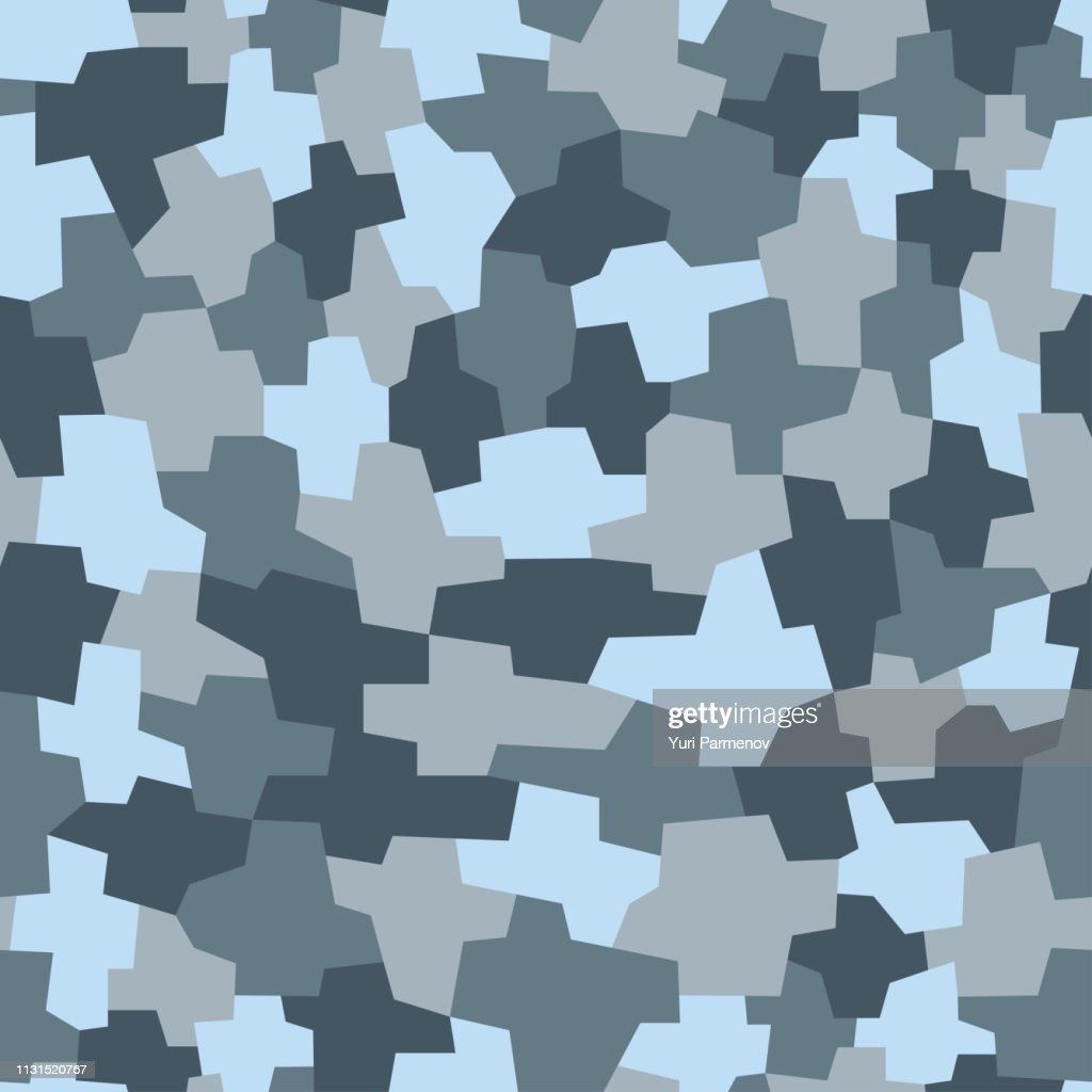 Camouflage pattern background, seamless vector illustration. Classic military clothing style. Masking army camo, repeat print for Wallpapers or prints on fabric. Blue, sea colors, Winter texture.