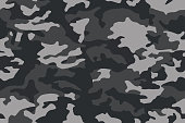 Camouflage pattern. Dark black seamless texture. Vector camo print background. Abstract military style backdrop