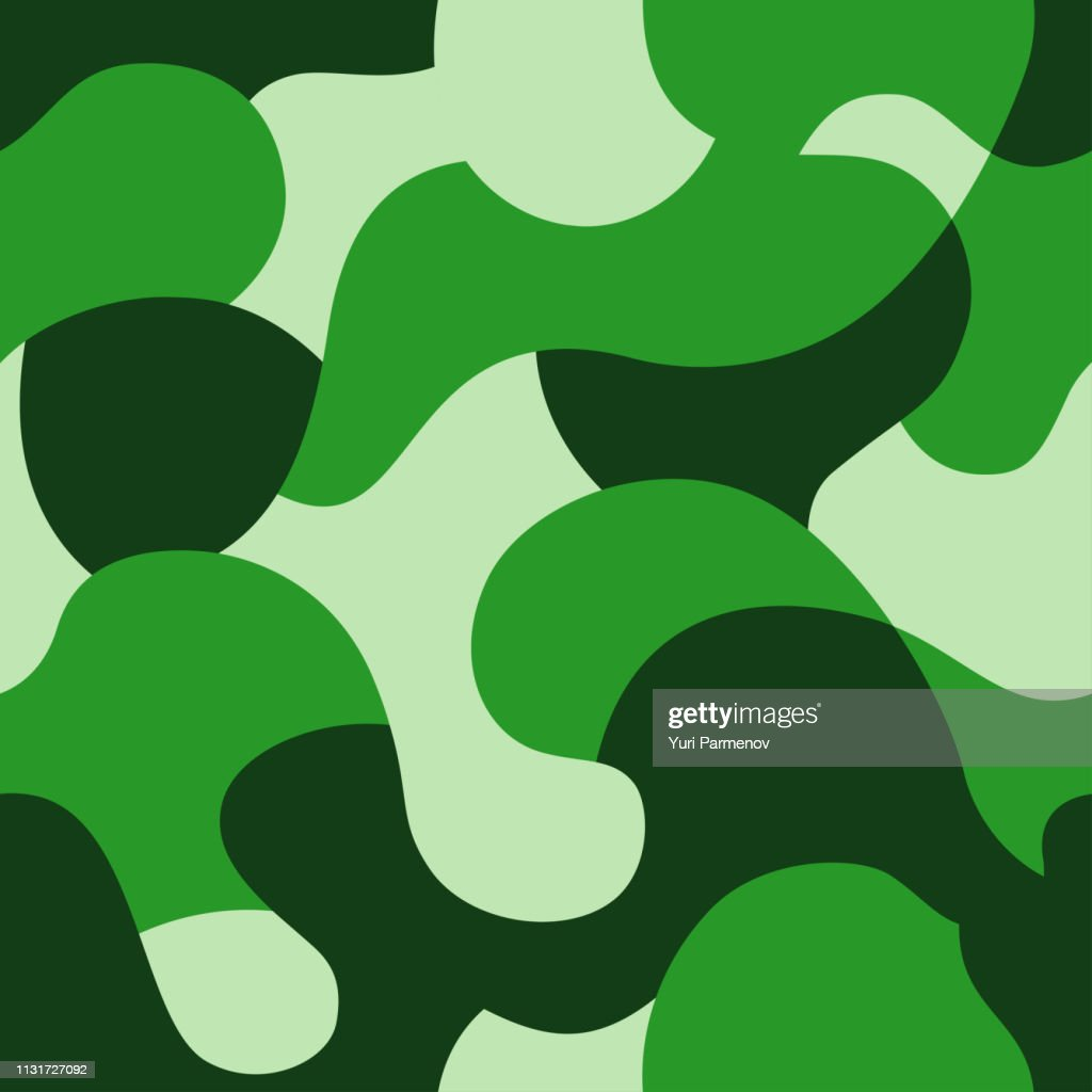 Camouflage pattern. Green texture, vector illustration. Camo print seamless background. Abstract military style backdrop