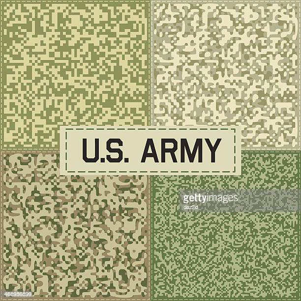 camouflage pattern set one - us military stock illustrations, clip art, cartoons, & icons