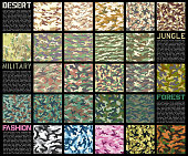 Camouflage pattern set vector