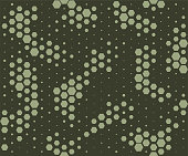 Camouflage pattern. Snake skin style, halftone seamless pattern. Green camo background