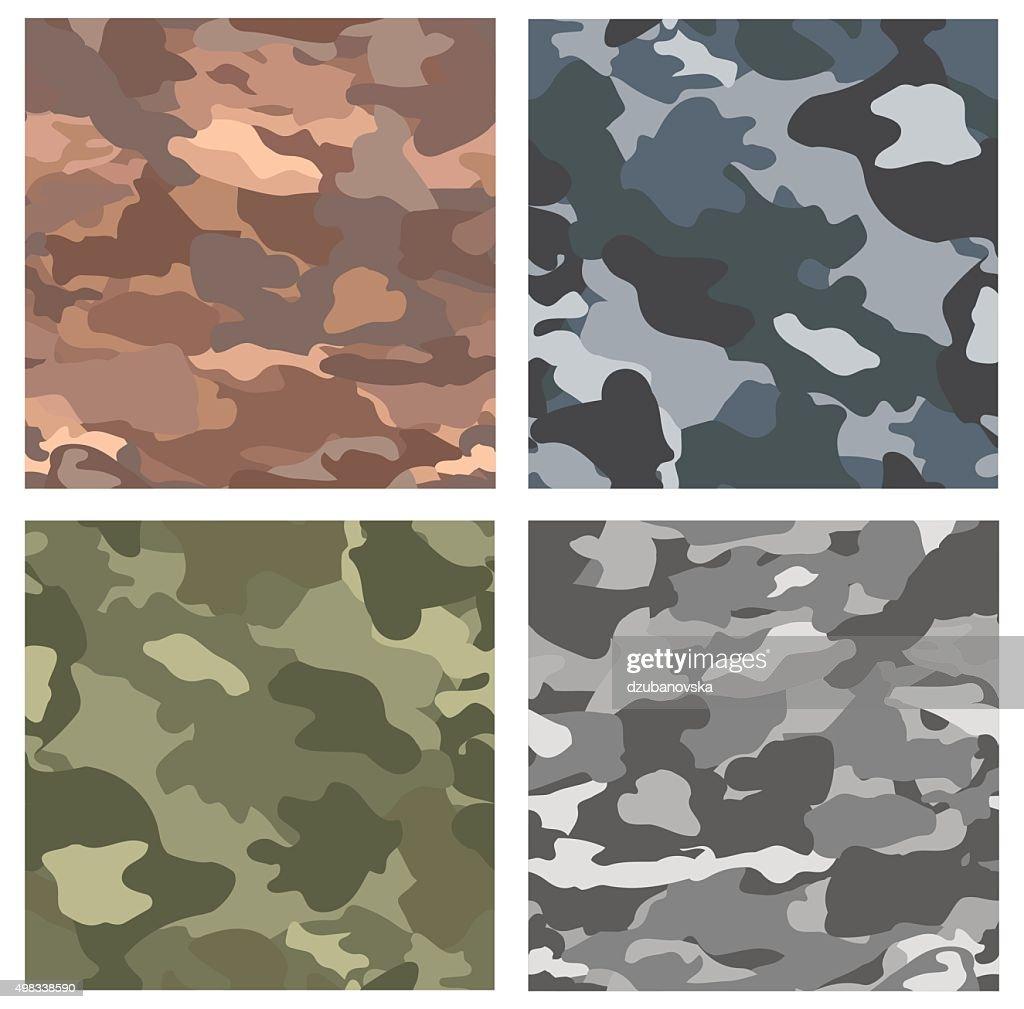 Camouflage seamless patterns.