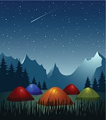 Camp - colorful illuminated tents in the mountains at night