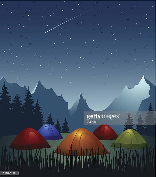camp - colorful illuminated tents in the mountains at night - tent stock illustrations, clip art, cartoons, & icons