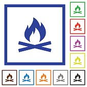 Camp fire flat framed icons