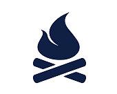 camp fire glyph icon
