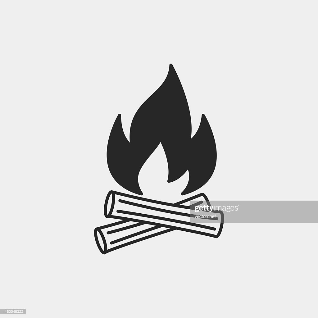 camp fire icono : Arte vectorial