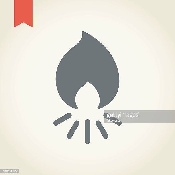 camp fire icon - flare stack stock illustrations, clip art, cartoons, & icons