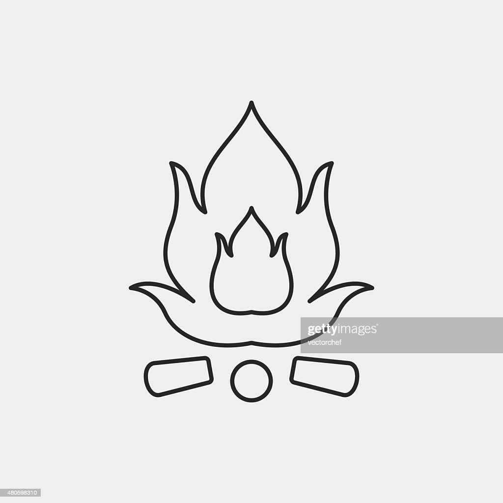 camp fire line icon : Vector Art