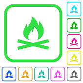 Camp fire vivid colored flat icons icons