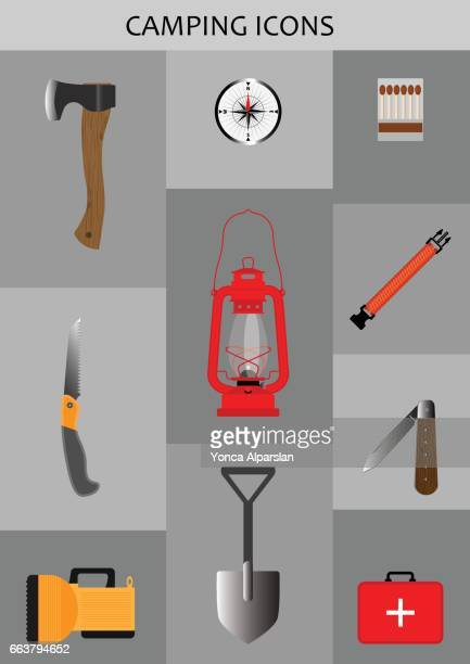 camp icons - serrated stock illustrations, clip art, cartoons, & icons