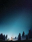 camp in pine wood perspective when starry night