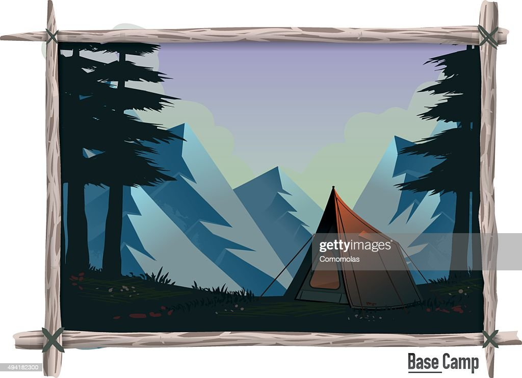 Camp in the mountains between the trees