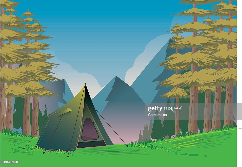 Camp in the mountains in daylight