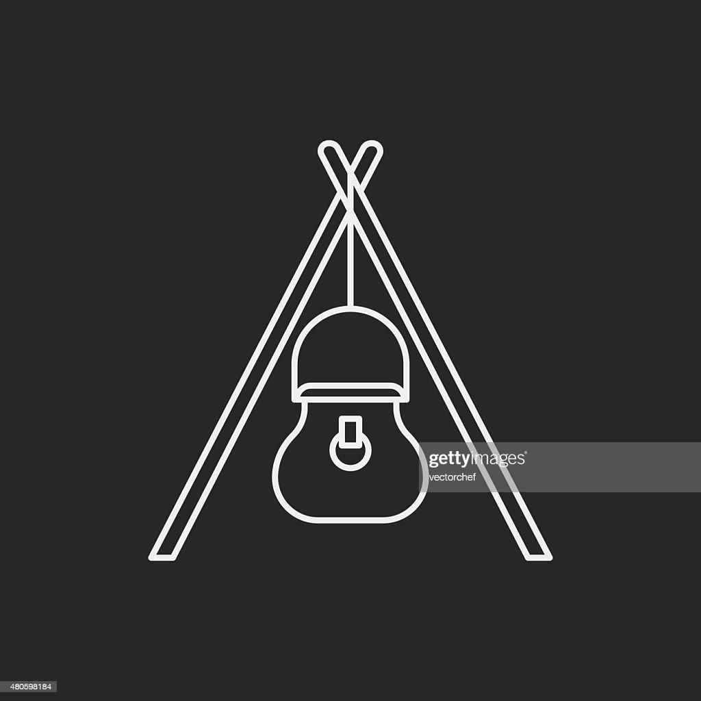 camp pot line icon : Vector Art