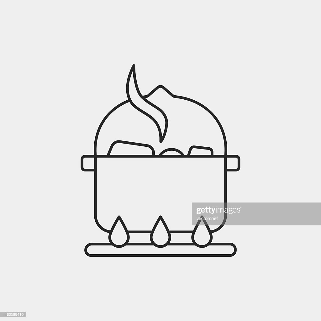 camp pot line icon : Vector Art