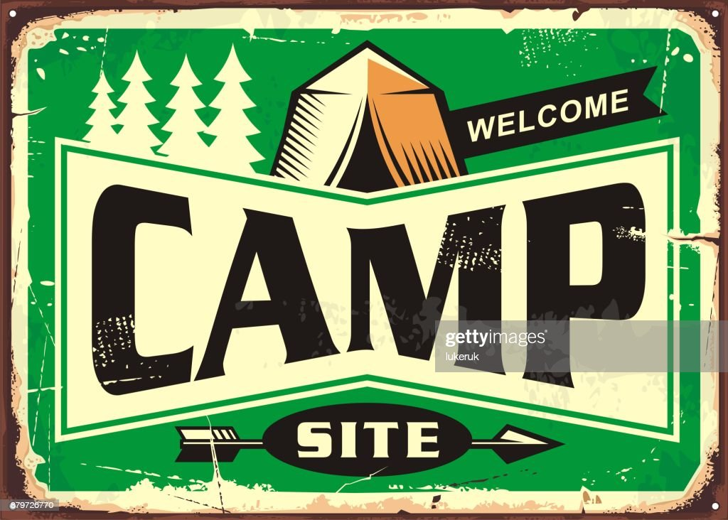 Camp site welcome sign