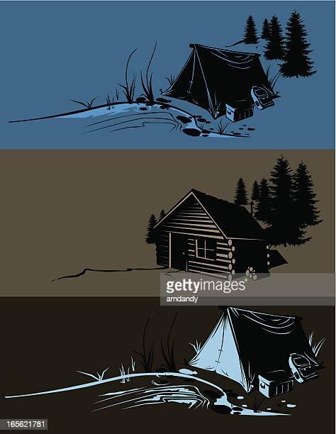 camp sites - woodland stock illustrations