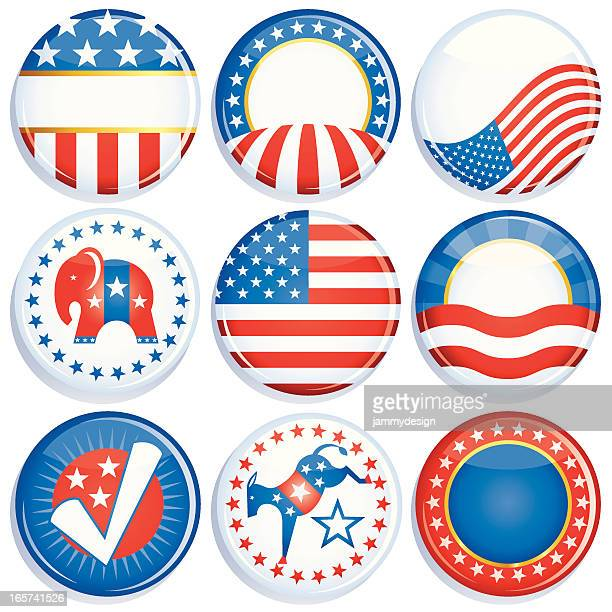campaign buttons - brooch stock illustrations